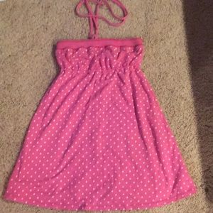 Pink and white polka dot cover up
